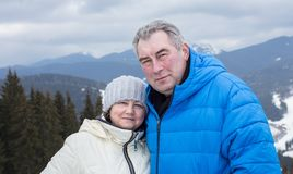 Pensioners at the top of a mountain in a ski resort. Stock Images