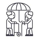 Pensioni, protezione, linea a lungo termine icona, segno, illustrazione di vettore di cura su fondo, colpi editabili royalty illustrazione gratis