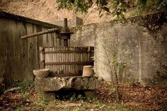 Pensionierte Weinpresse, Frankreich Lizenzfreies Stockbild