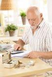 Pensionista ativo que faz o trabalho financeiro em casa imagens de stock royalty free