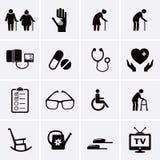 Pensionista e iconos mayores del cuidado Fotografía de archivo libre de regalías