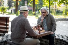 Pensionista masculinos maduros pensativos que divertem o tabuleiro de xadrez Imagens de Stock
