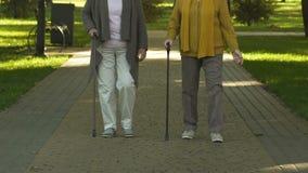 Pensionista que andam com a vara no parque, no conceito de envelhecimento e na artrite superior filme