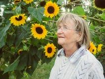 Pensionista sonriente en su jardín con el girasol Foto de archivo libre de regalías