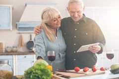 Pensionistas felices que pasan el tiempo libre en cocina Fotografía de archivo