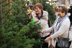 Pensionistas femeninos que compran el árbol del Año Nuevo en la feria Imágenes de archivo libres de regalías