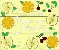 Pensionnaire frais des fruits sur le fond en bois pour votre texte Images stock