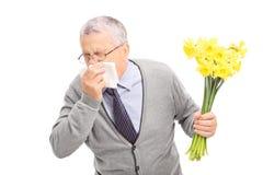 Pensionär som har en allergisk reaktion till blommor Arkivbild