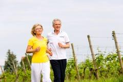 Pensionärer som kör i naturen som gör sporten Arkivbild