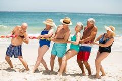Pensionärer som spelar dragkampen på stranden Arkivbilder