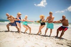 Pensionärer som spelar dragkampen på stranden Arkivfoto