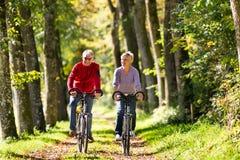 Pensionärer som övar med cykeln Arkivfoto