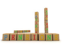 Pensions concept - Child's play building blocks Stock Photography