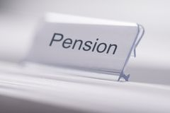 Pensions-Tag auf Tabelle Stockfoto