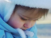 Pensive. A child in somewhat of a pensive mood royalty free stock photo