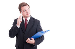 Pensive accountant or financial manager Royalty Free Stock Image