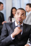 Pensive african-american businessman Royalty Free Stock Image