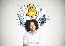 Pensive African American businesswoman, bitcoin. Pensive African American businesswoman wearing a white shirt is standing near a concrete wall with Stock Photography