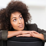 Pensive African American businesswoman royalty free stock image