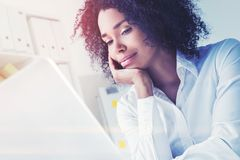 Pensive African American businesswoman toned stock images