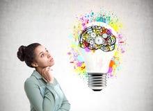 Pensive African American girl, cog brain, bulb Royalty Free Stock Image