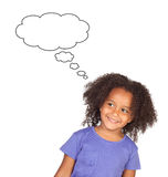 Pensive african child. Isolated on a white background Royalty Free Stock Image