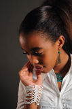 Pensive african girl Royalty Free Stock Photography