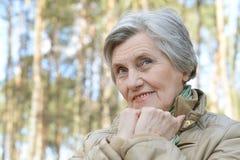 Pensive aged woman Stock Photo