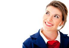 Pensive air hostess Stock Photo