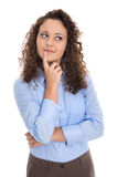 Pensive and amused isolated young businesswoman searching soluti Royalty Free Stock Images
