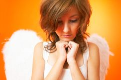 Pensive Angel. stock photo