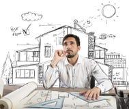 Free Pensive Architect Stock Image - 55245401