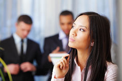 Pensive asian businesswoman Stock Images