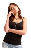Pensive attractive young woman Royalty Free Stock Photos