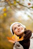 Pensive autumn woman Royalty Free Stock Photo