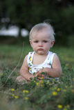 Pensive baby sits on lawn Stock Images