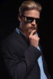 Pensive bearded business man Stock Image