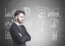 Pensive bearded businessman, graphs blackboard Royalty Free Stock Photos