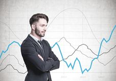Pensive bearded businessman, side view, graphs Royalty Free Stock Photo