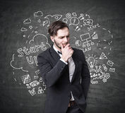 Pensive bearded guy and a startup sketch Royalty Free Stock Images