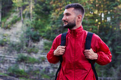 Pensive bearded hiker looking on the right Stock Photography