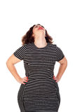 Pensive beautiful curvy girl with striped dress Royalty Free Stock Images