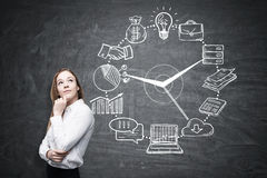 Pensive blond girl and business clock, blackboard Stock Images