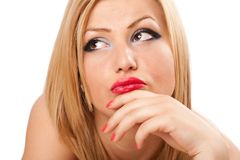 Pensive blond woman Stock Image