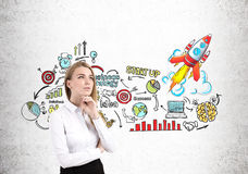 Pensive blond woman and colorful startup Stock Images