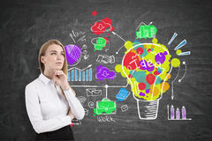Pensive blond woman and creative idea icon. Portrait of a pensive blond businesswoman wearing a white blouse and standing near a blackboard with a creative and Royalty Free Stock Photo