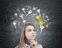 Pensive blond woman and key sketches Stock Image