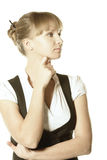 Pensive blonde businesswoman Royalty Free Stock Image