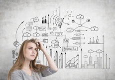 Pensive blonde woman scratches head, business idea Royalty Free Stock Images