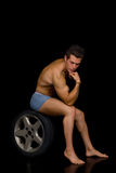 Pensive Body Builder Royalty Free Stock Photo